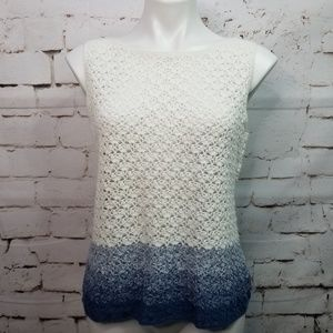 Norton McNaughton Sleeveless Blue Ombre Crochet